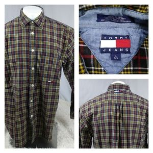 Tommy button top durable cotton plaid long sleeve